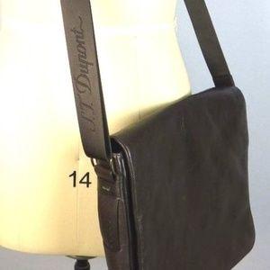 S.T. Dupont Brown Leather Messenger Bag